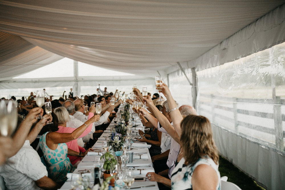 Guests cheers Pemberton Farm wedding reception
