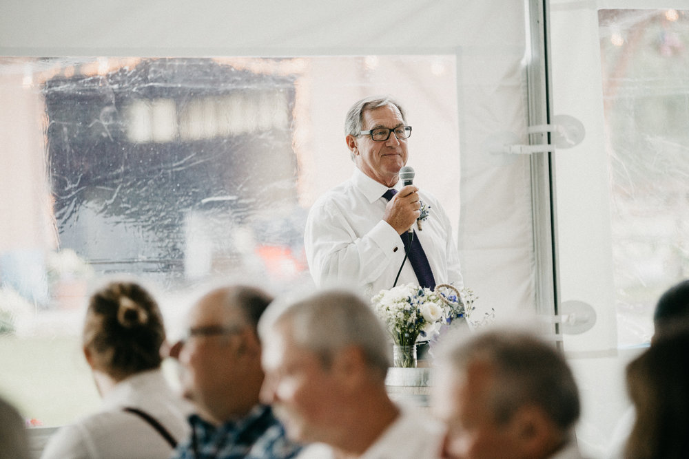 Father of the Bride speaks at Pemberton Farm wedding