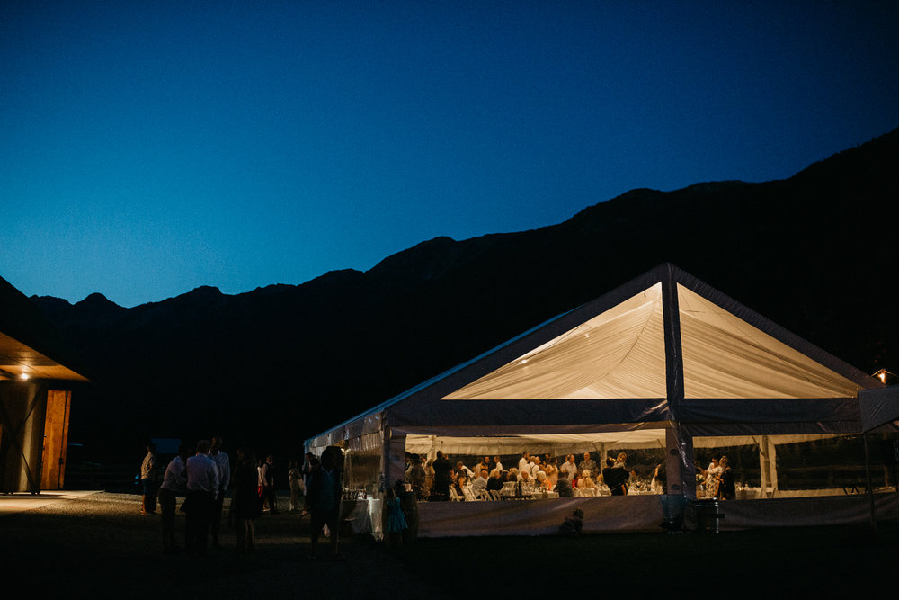 Reception site at Pemberton farm wedding