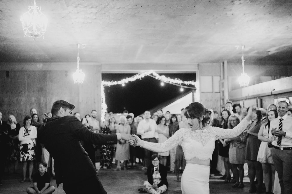 Couple dances at reception Pemberton farm wedding