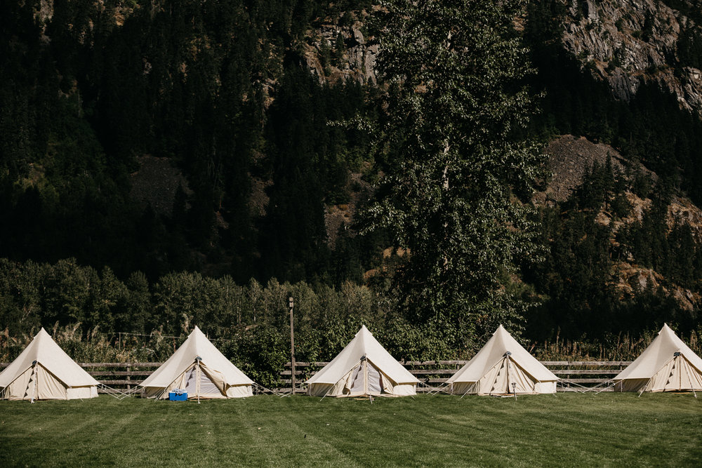 Tipis at Pemberton Valley farm Wedding