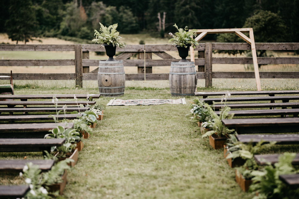 ceremony site at Bird's Eye Cove wedding, Vancouver Island wedding photographer