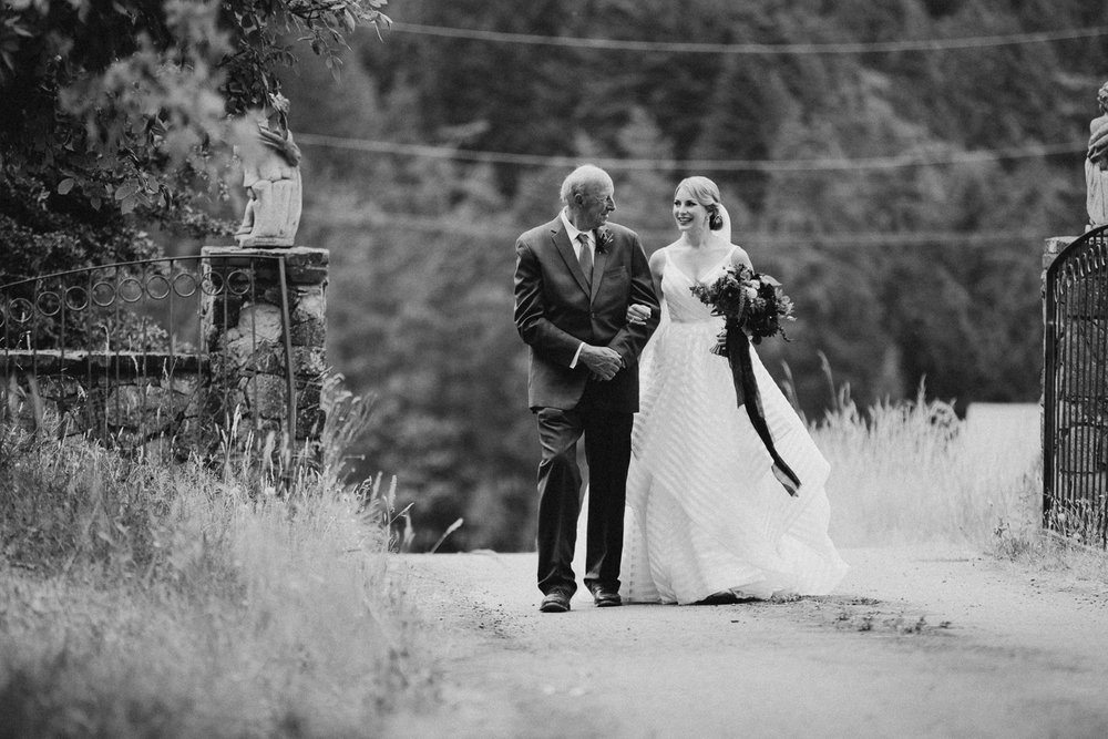 bride and father at ceremony at Bird's Eye Cove wedding, Vancouver Island
