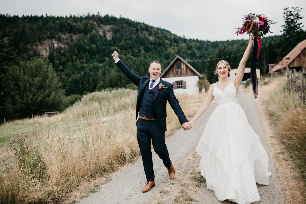 couple celebrates at Bird's Eye Cove wedding, Vancouver Island