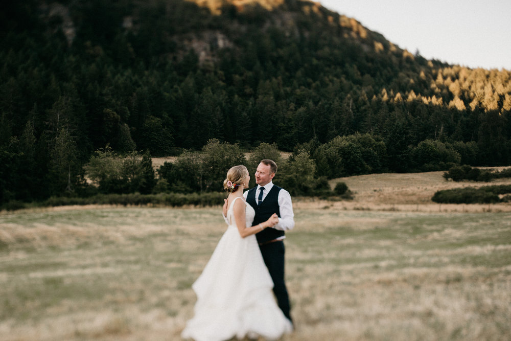 sunset dance at Bird's Eye Cove wedding, Vancouver Island