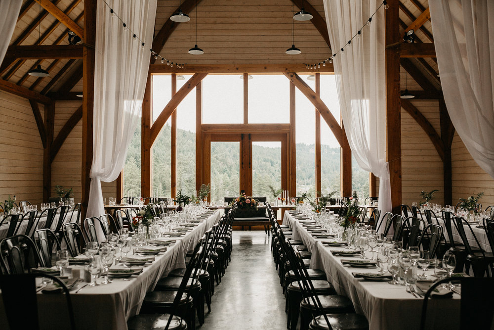reception set up at Bird's Eye Cove wedding, Vancouver Island