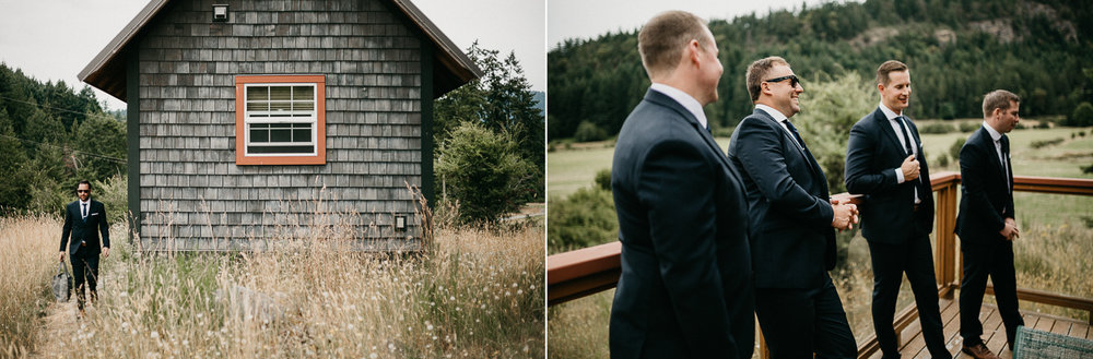 Groomsmen before ceremony at Bird's Eye Cove wedding, Vancouver Island wedding photographer