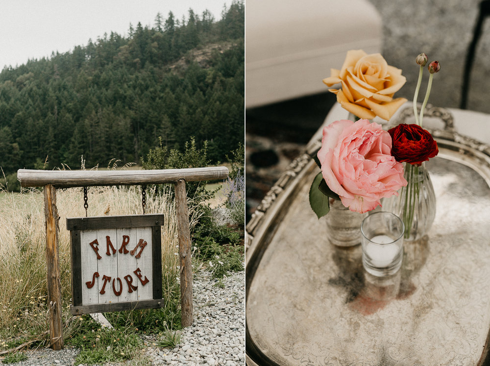 farm stand and flowers at Bird's Eye Cove wedding, Vancouver Island