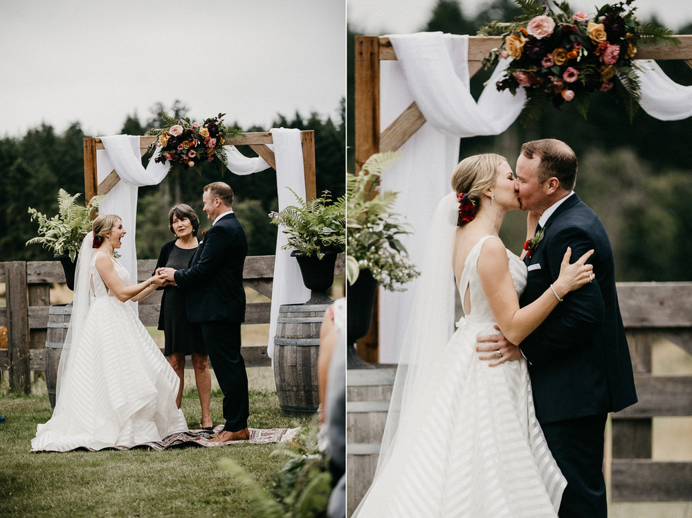 bride and groom kiss at Bird's Eye Cove wedding, Vancouver Island