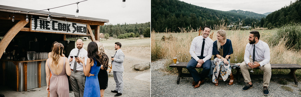 guests hang at Bird's Eye Cove wedding, Vancouver Island