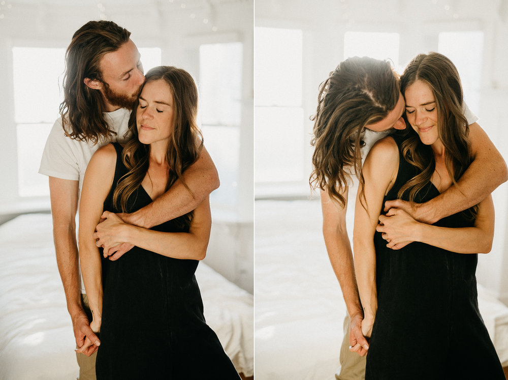couple kisses at home Victoria wedding photographer