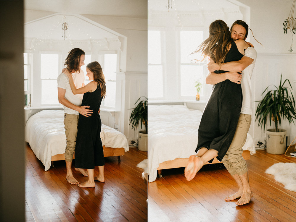 couple twirls in bedroom Victoria wedding photographer