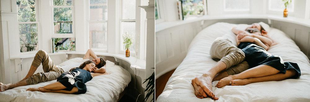 couple lays on bed Victoria wedding photographer