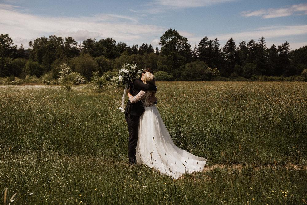bride and groom's first look, Elk Lake, Victoria wedding photographer