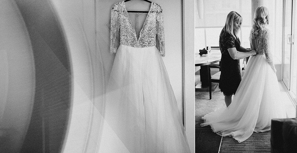bride getting wedding dress on Victoria wedding photographer
