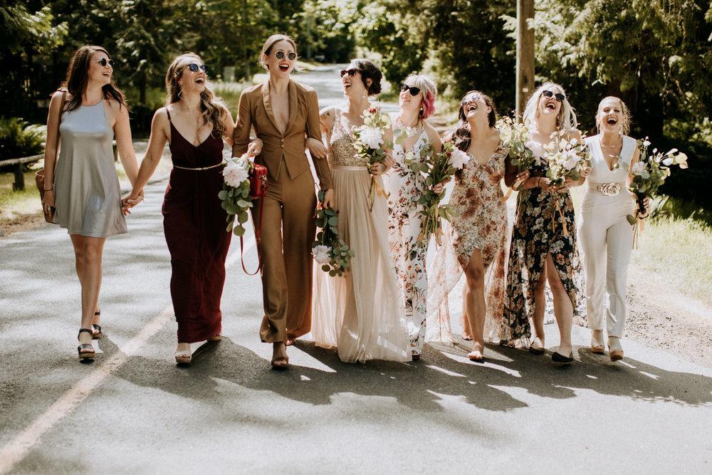 bridesmaid walk arm in arm victoria wedding photographer