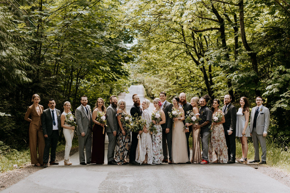 bridal party poses in forest road victoria wedding photographer