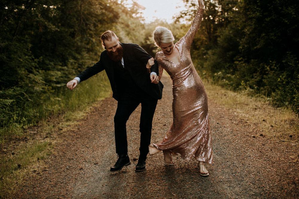 bride and groom play at garden wedding, victoria wedding photographer