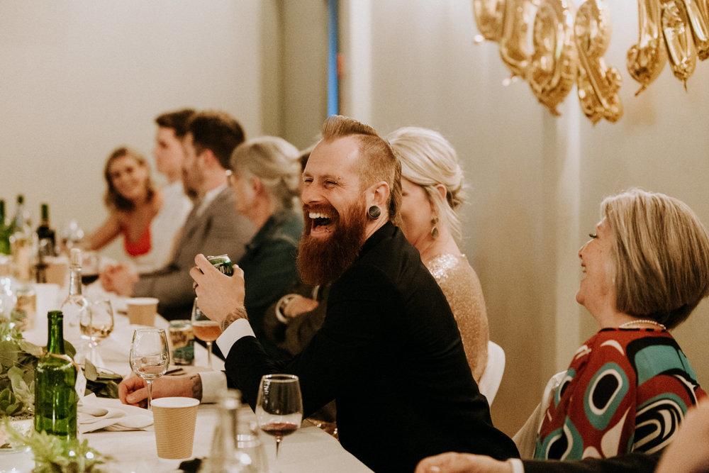 groom laughs during speeches, victoria wedding photographer