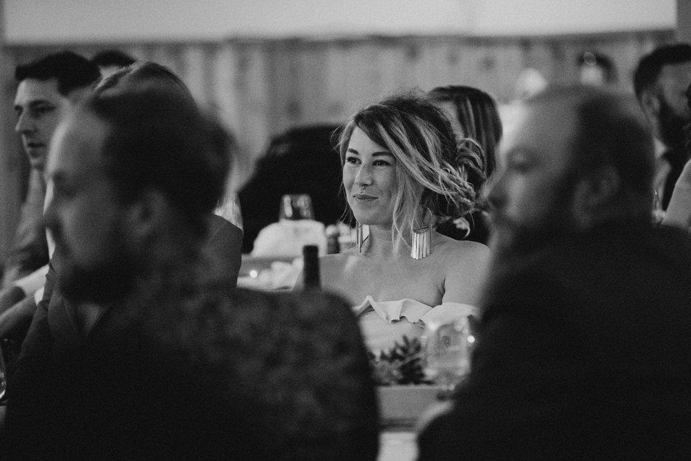 bridesmaid smiles at reception speeches, victoria wedding photographer
