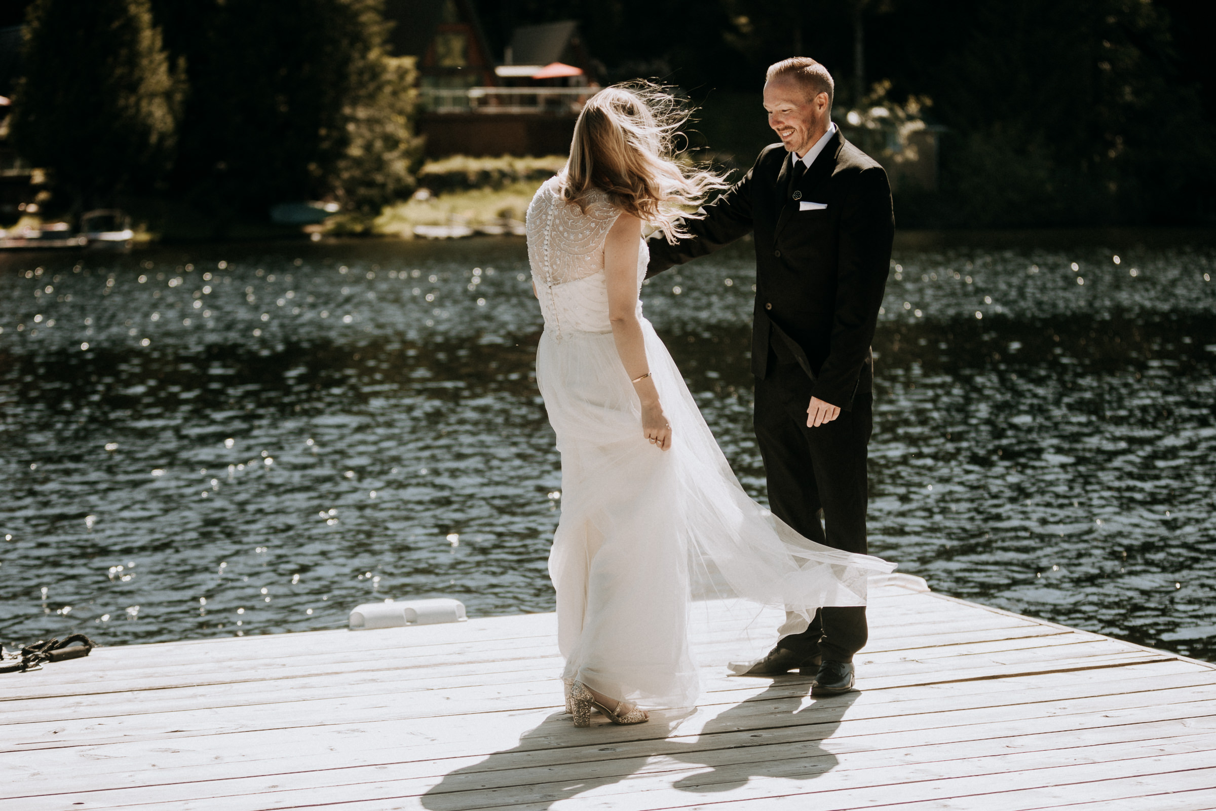 a06ac93527 bride and grooms first look on dock vancouver island wedding photographer