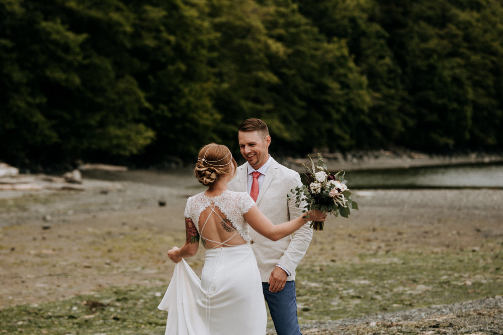 bride and grooms first look at Victoria elopement photographer