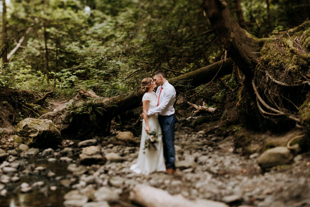 bride and groom in old growth forest Vancouver Island Elopement Photographer