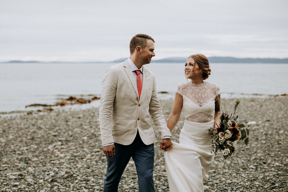 bride and groom walks on beach to ceremony, Victoria elopement photographer