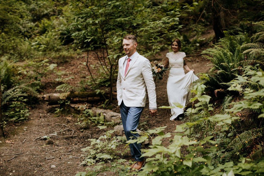 groom walks to ceremony site Mount Doug Vancouver Island Elopement Photographer