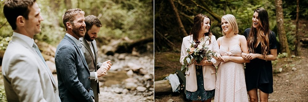 bridal party laughs during ceremony Vancouver Island Elopement Photographer