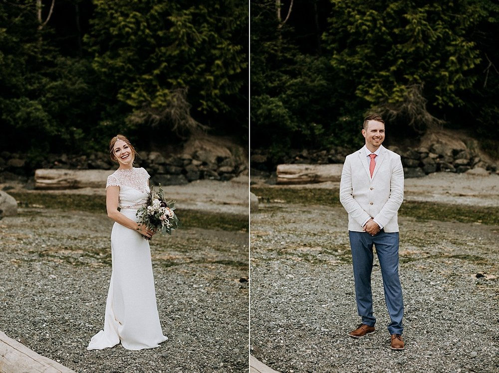 bride and groom on mount doug beach, Victoria elopement photographer