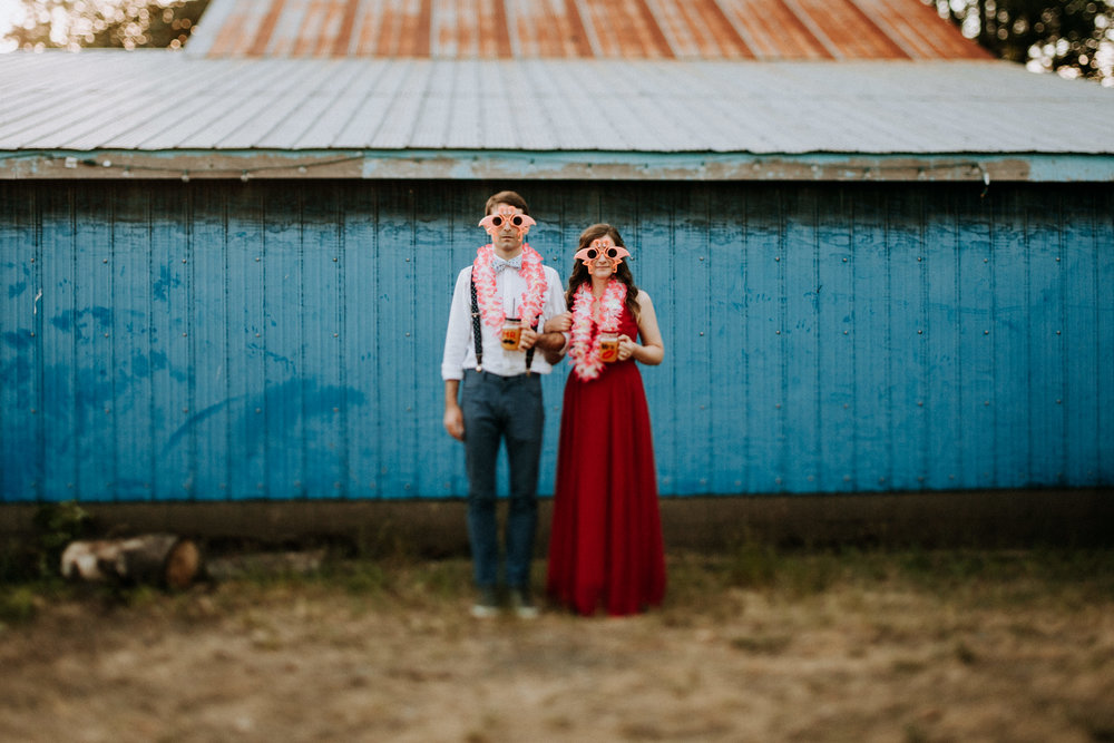 Bride and groom dressed up at farm wedding Courtenay Wedding Photographer