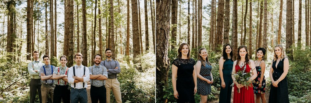 bridal party in forest, Vancouver island, Courtenay Wedding Photographer