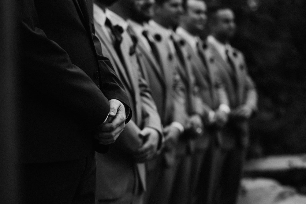 Groom and groomsmen at the ceremony, Mount Washington Wedding photographer