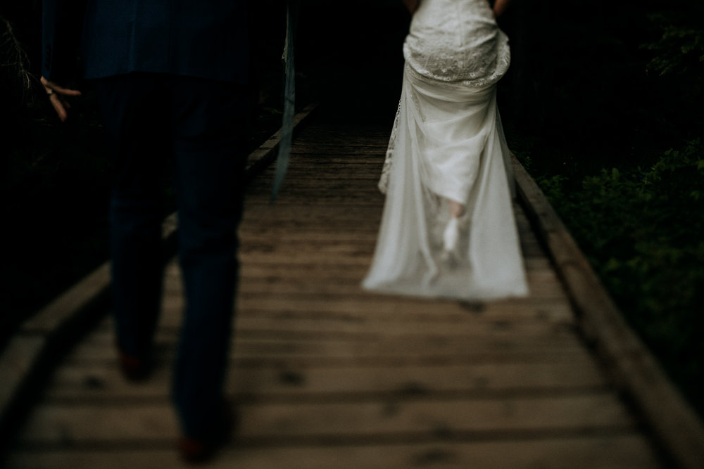 Couple exits wedding, Mount Washington Wedding photographer