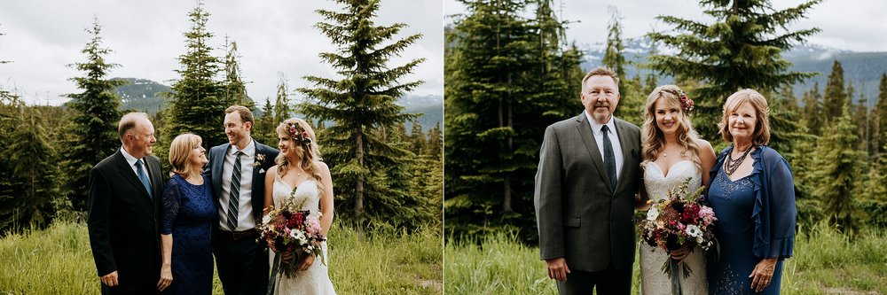 Bride and Groom with their parents, Mount Washington Wedding photographer