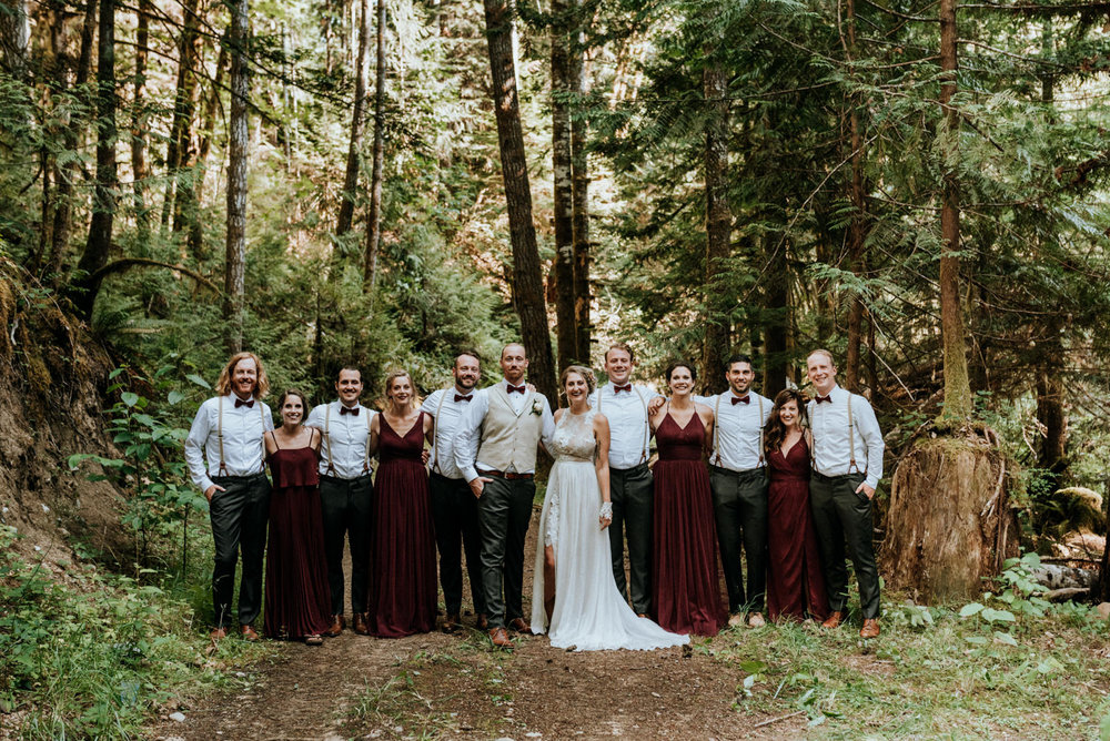 bridal party in forest Port Alberni wedding Photographer