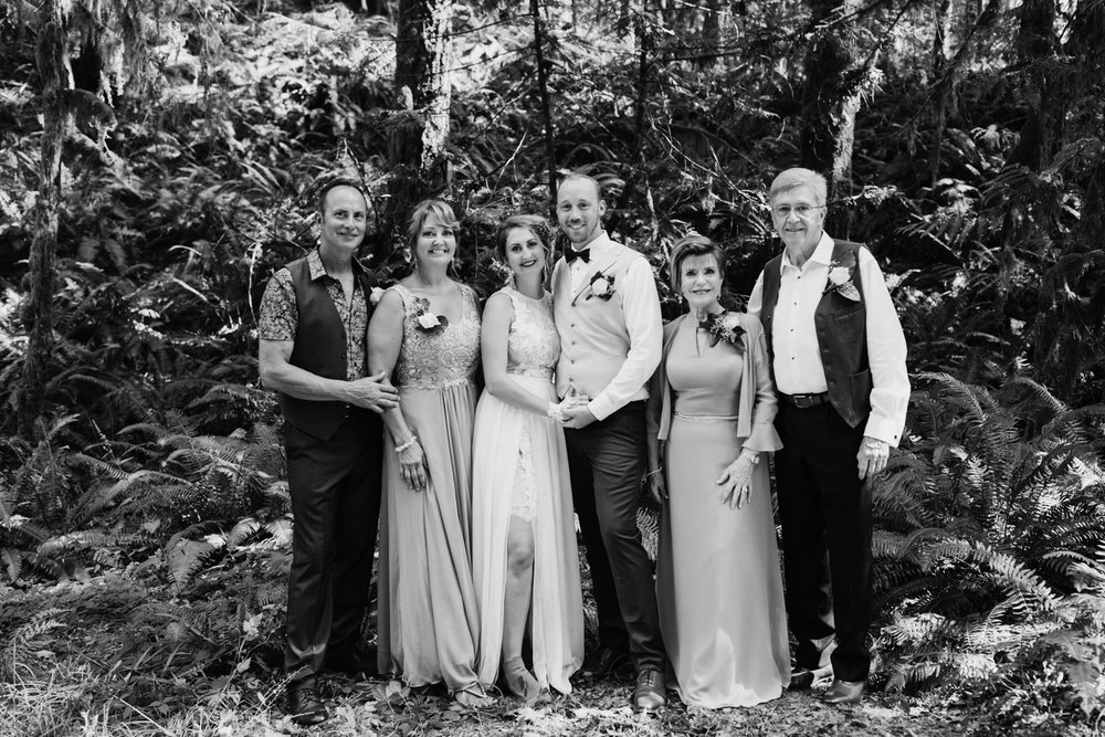 family formals in forest Port Alberni wedding Photographer