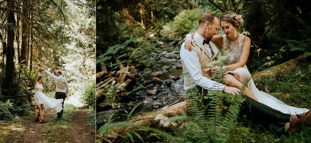 gride and groom cuddle in forest Port Alberni wedding Photographer