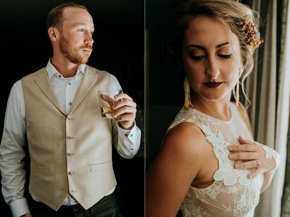 Bride and Groom pose while getting ready Port Alberni wedding Photographer