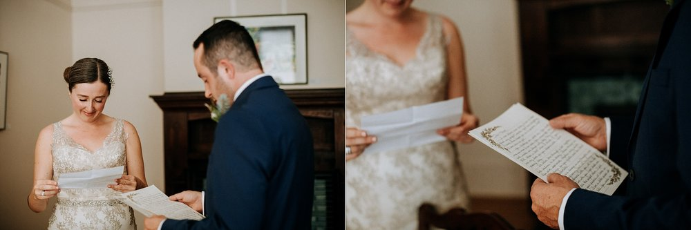 Bride and groom exchange vows at intimate Victoria wedding photographer