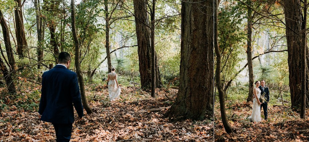 bride and groom in beautiful forest, intimate Victoria wedding