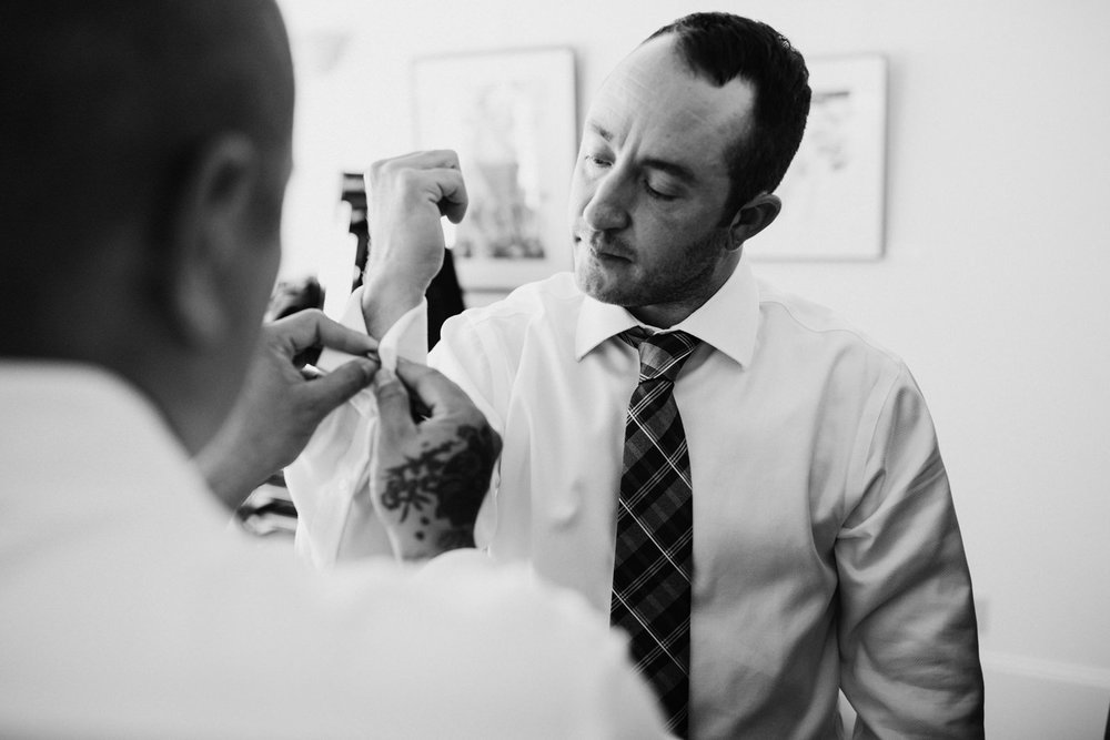groom getting ready Intimate Victoria wedding photographer