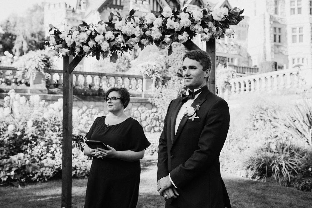 Groom wait for bride Hatley Castle Wedding Photographer