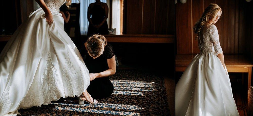 bride getting ready in bridal suit Hatley Castle