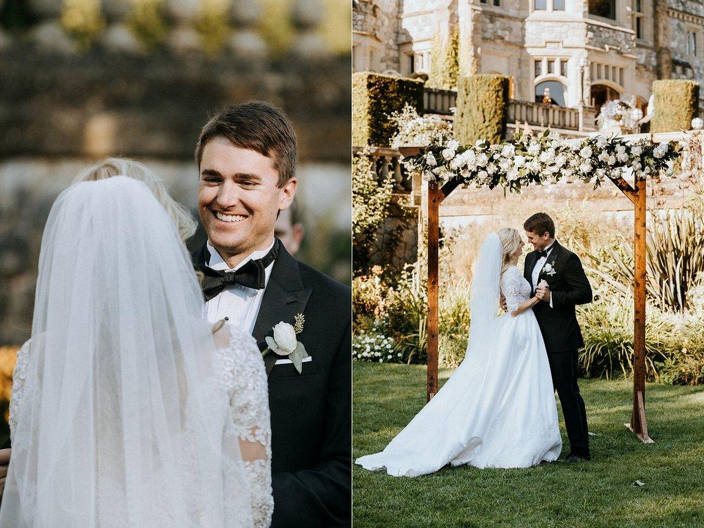 Groom smiles at bride Hatley Castle Wedding Photographer