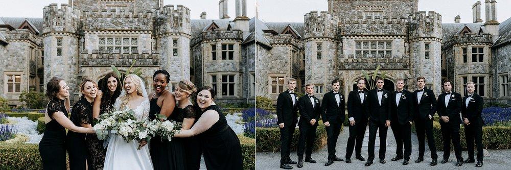 bridal party outside Hatley Castle Wedding Photographer
