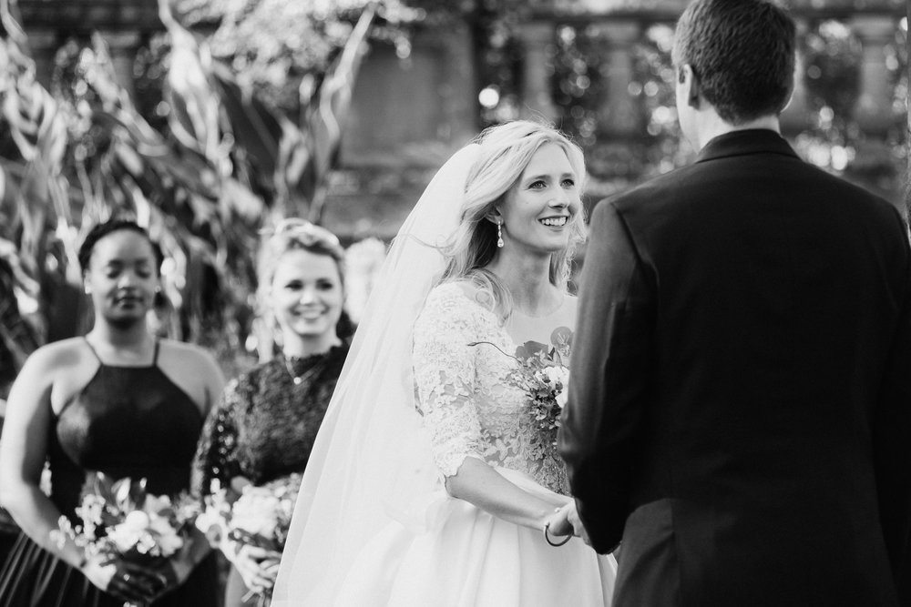 Bride smiles at groom Hatley Castle Wedding Photographer