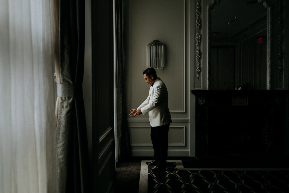 groom waits for his bride Hotel Georgia Vancouver Wedding Photographer