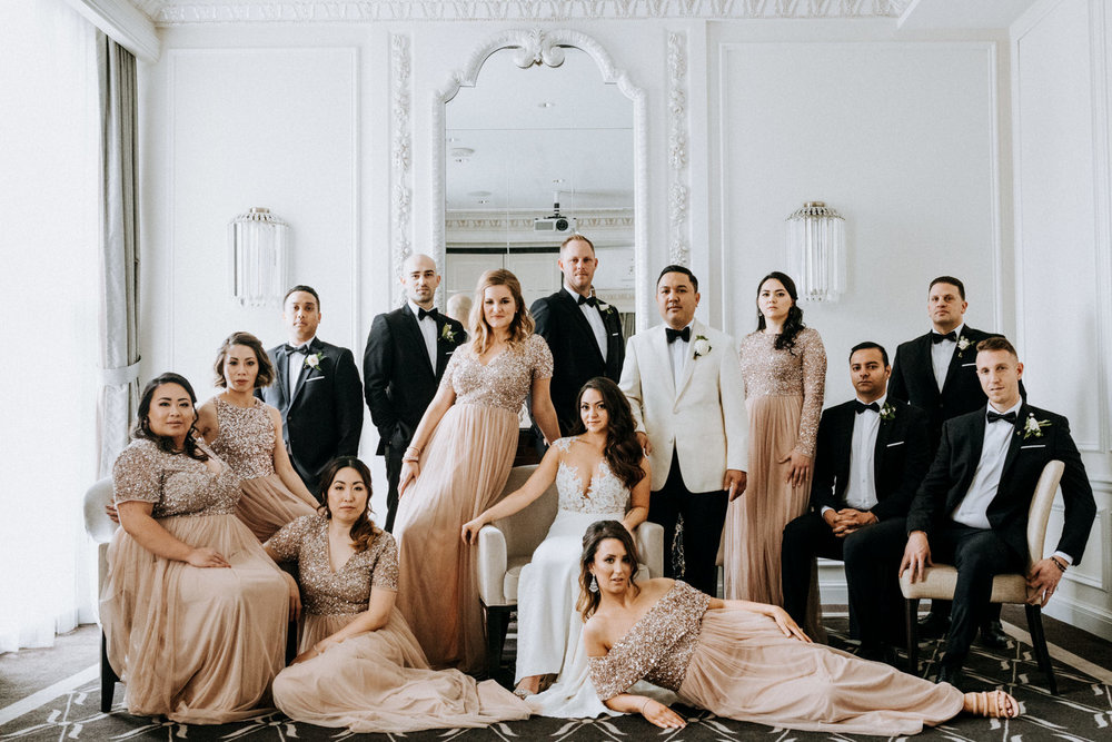 bridal party Vogue pose Hotel Georgia Vancouver Wedding Photographer